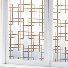 Elektrostatische glas filme,Kein kleber Fensteraufkleber,Datenschutz-fenster-folie,Lattice Chinesischer stil Blickdichter Dekorative Badezimmer Home Anti-uv Sonnenschutz Fenster-aufkleber-braun 30x200cm(12x79inch)