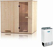 Elementsauna Gobi 60 mm mit Dachkranz inkl. 6 kW Saunaofen - Außenmaße (B x T x H): 150 x 200 x 205 cm