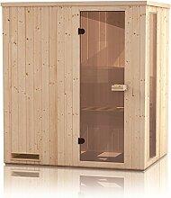 Elementsauna Gobi 60 mm mit Sichtfenster und Dachkranz - Außenmaße (B x T x H): 150 x 150 x 205 cm