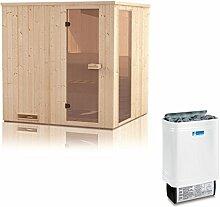 Elementsauna Gobi 60 mm mit Sichtfenster und Dachkranz inkl. 6 kW Saunaofen - Außenmaße (B x T x H): 180 x 180 x 205 cm