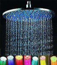 ELENKER Duschkopf runde Regendusche mit 7 Farbe