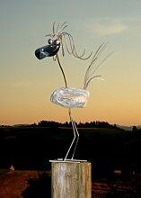 Eleonore stehend Größe L ca 70 cm hoch Steinvogel aus Edelstahl und Stein ein schöner Gartenvogel die besondere Art der Gartendeko