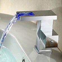 Eleoption Zeitgenössische RGB Farbwechsel LED Waschbecken Wasserhahn für Bad