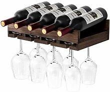 eletecpro Rustikales Weinregal mit Flaschenhalter,