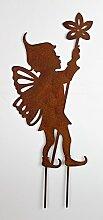 Elfe mit Blume 40cm Edelrost Optik Figur Beetstecker Dekoration Metall Garten