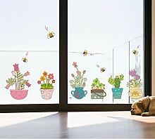 ELGDX Wandaufkleber Cartoon Blume Schlafzimmer