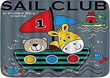 ELIENONO rutschfeste Badematte,Sailor Sail Club