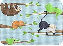 ELIENONO rutschfeste Badematte,Tiere Eidechse