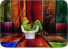ELIENONO rutschfeste Badematte,Tiere Frosch saß