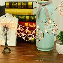 ELINKUME® 10er LED Hollow Polygonal Lichterkette- Batteriebetrieben String Lights Dekorative Beleuchtung für Party Garten Weihnachten Hotel Fest Geburtstag Hockzeit Warmweiß