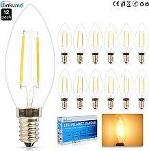 ELINKUME 12X E14 LED Kerzenlicht 2W Warmweiss COB