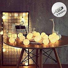 ELINKUME® 20er LED Cotton Ball Lichterkette, 8