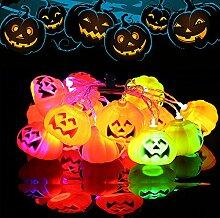 ELINKUME® Halloween Jack-O-Laterne Lichterkette, 16 LEDs 3,2 m/10,5 ft, 3D Kürbis Dekoration String Lights, Für Urlaub, Festival, Party Dekor (RGB)