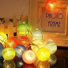 ELINKUME LED Lampion Lichterkette 20er Partylichterkette Deko für Innen Balkon Party Hochzeit Feiertag batterie-betrieben Kugeln/Bälle Lampions 3.3m bun