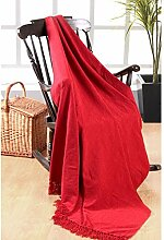 Elite Home Collection Überwurf/ Decke, 150x200cm, 100% indisches Polyester, Chenille, einfarbig, Ro
