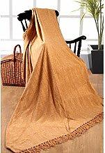 Elite Home Collection Überwurf/ Decke für Doppel- / Einzelbett, 150x200cm, 100% indisches Polyester, Chenille, Beige
