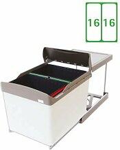 Elleci ECHO 4532 / 36 L / 2x16 L / 45 cm Schrank / Abfallsammler / Abfallbehälter / Mülleimer mit Vollauszug / Einbau Abfallsammlsystem Mülltrennung Küche / ORIGINAL MADE IN ITALY