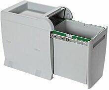 ELLETIPI City PTA 3040b Mülleimer Mülltrennung, ausziehbar für Base, grau, 28x 42x 44cm