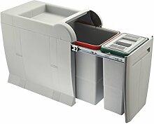 ELLETIPI City PTA 3045A Abfalleimer Mülltrennung, ausziehbar für Base, grau, 28x 47x 44cm