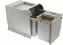 ELLETIPI City PTA 4045A Abfalleimer Mülltrennung, ausziehbar für Base, grau, 35x 47x 44cm