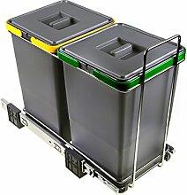 ELLETIPI Ecofil PF0134A2Mülleimer Mülltrennung, ausziehbar für Base, Kunststoff und Metall, Grau, 23x 45x 36cm