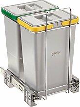 ELLETIPI Ecofil PF0134C2Mülleimer Mülltrennung, ausziehbar für Base, Kunststoff und Metall, Grau, 23x 41x 36cm