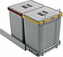 ELLETIPI Ecofil PF0134B2Mülleimer Mülltrennung, ausziehbar für Base, Kunststoff und Metall, Grau, 30x 45x 36cm