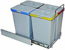 ELLETIPI Ecofil PF0134B3Mülleimer Mülltrennung, ausziehbar für Base, Kunststoff und Metall, Grau, 30x 45x 36cm