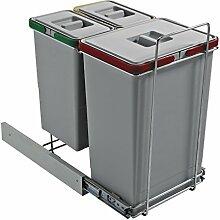 ELLETIPI Ecofil PF0144B1Mülleimer Mülltrennung, ausziehbar für Base, Kunststoff und Metall, Grau, 30x 45x 46cm