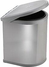 ELLETIPI Ring ppi607/112L Abfalleimer mit Tür für Base, Kunststoff und Stahl, Grau, 27x 27x 37cm