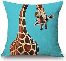 Elliot_yew Dekokissenbezug mit Giraffe und rosa