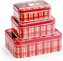 ellw gebackener Verpackung New Year Cookie Box Cookie Jar Kuh Rollen Zucker Box Candy Verpackung Dose, Weißblech, Set 3 Red, 13*7cm+16*7cm+19*8cm