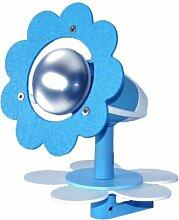 Elobra Kinder Klemmleuchte Blüte One Hellblau, Blau/Weiß, Holz, 125090