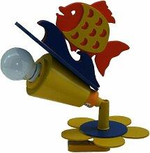 Elobra Kinder Klemmleuchte Fisch One, Gelb/Blau, Holz, 121795