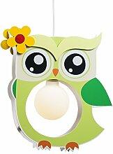 Elobra Kinderlampe Deckenleuchte Hängeleuchte Eule, Kinderzimmer, Holz, lindgrün , A++