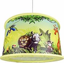 Elobra Kinderlampe Deckenleuchte Hängeleuchte Wildnis Dschungel, Kinderzimmer, Holz, grün, A++