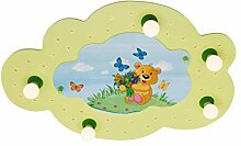 Elobra Kinderlampe Deckenleuchte Wolke Teddybär mit LED Nachtlicht, Kinderzimmer, Holz, lindgrün, A++