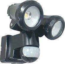 ELRO 2-Köpfige LED-Außenleuchte mit Bewegungsmelder 2 x 10W, 1500 Lm, Plastik, 20 W, Schwarz