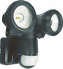 ELRO 2-Köpfige LED-Außenleuchte mit Bewegungsmelder 2 x 5 W, 800 Lm, Plastik, Schwarz, 15 x 17 x 17 cm