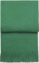 ELVANG: Leichte leuchtend smaragdrüne Alpaka-Wolldecke 'emerald' 130x200cm mit Fransen
