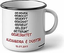 """Emaille Becher mit Schwarzem Rand M gesehen gemocht gehofft geküsst Geheiratet Heiraten … """" Fotogeschenke Tassen Becher für Kaffee Tee Emaille"""