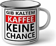"""Emaille Becher mit Schwarzem Rand M Gib kaltem Kaffee keine Chance … """" Fotogeschenke Tassen Becher für Kaffee Tee Emaille"""