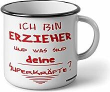 """Emaille Becher mit Schwarzem Rand M Ich bin erzieher und was sind deine superkräfte … """" Fotogeschenke Tassen Becher für Kaffee Tee Emaille"""
