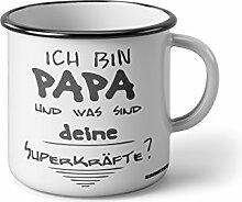 """Emaille Becher mit Schwarzem Rand M ich bin papa und was sind deine Superkräfte … """" Fotogeschenke Tassen Becher für Kaffee Tee Emaille"""