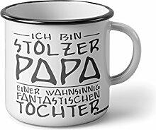 """Emaille Becher mit Schwarzem Rand M Ich bin stolzer Papa einer wahnsinnig fantastischen tochter … """" Fotogeschenke Tassen Becher für Kaffee Tee Emaille"""