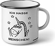 """Emaille Becher mit Schwarzem Rand M Ich hasse Menschen mit einhorn … """" Fotogeschenke Tassen Becher für Kaffee Tee Emaille"""
