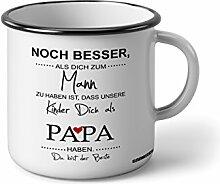 """Emaille Becher mit Schwarzem Rand M Noch besser als dich zum Mann zu haben ist, dass meine Kinder dich als Papa haben … """" Fotogeschenke Tassen Becher für Kaffee Tee Emaille"""