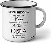 """Emaille Becher mit Schwarzem Rand M Noch besser als dich zur Mama zu haben ist, dass meine Kinder dich als Oma haben … """" Fotogeschenke Tassen Becher für Kaffee Tee Emaille"""
