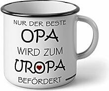 """Emaille Becher mit Schwarzem Rand M Nur der beste Opa wird zum Uropa Befördert … """" Fotogeschenke Tassen Becher für Kaffee Tee Emaille"""