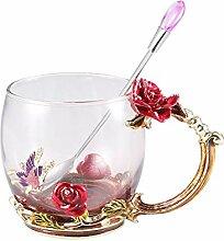 Emaille-Blumen-Glas-Kaffeetassebeste 3D Rose Form